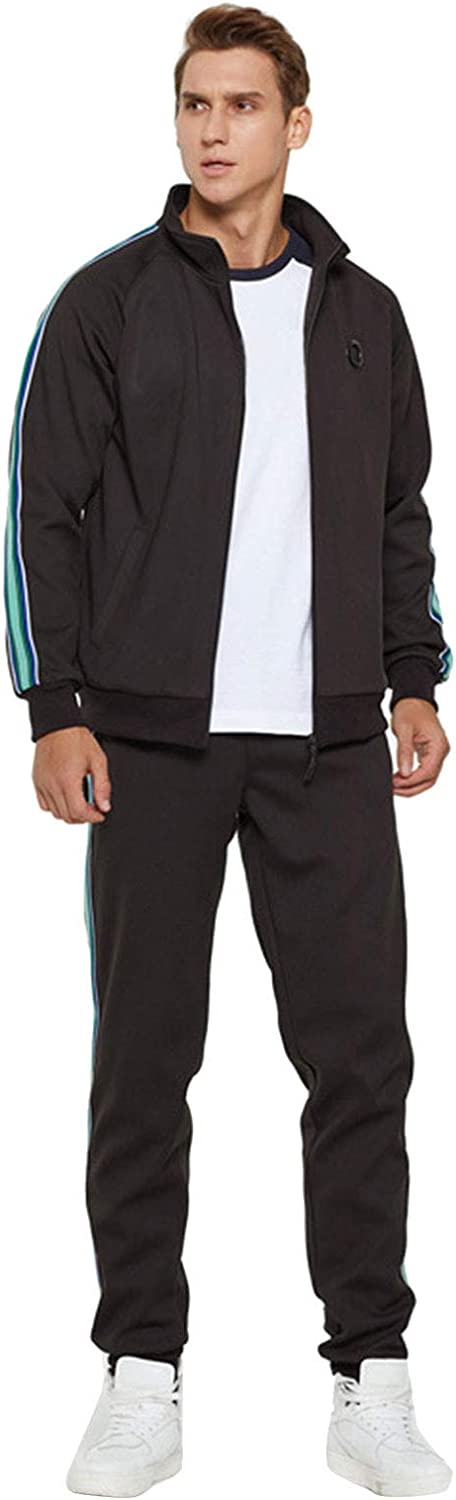 7789 Men's Side Striped Casual Full Zip Athletic Tracksuit Jogging Suit Two Piece Running Gym Clothing