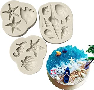 Sealife Conch Starfish Shell Coral Silicone Sugarpaste Icing Mould 3Pcs/set, Flower Pro for Cake Decorating, Sugarcraft, Cards, Crafts and Candies, Food Safe
