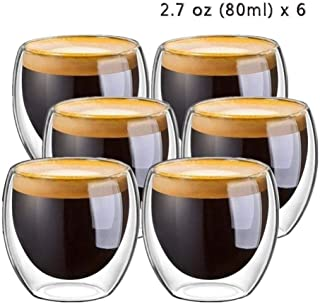 HHOME 80ml 6Pcs 2.7oz Glass Double Walled Heat Insulated Tumbler Espresso Tea Cup Coffee mug