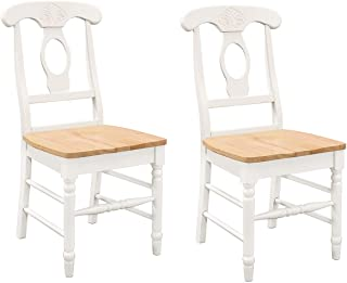 Damen Napoleon Dining Side Chairs Natural Brown and White (Set of 2)