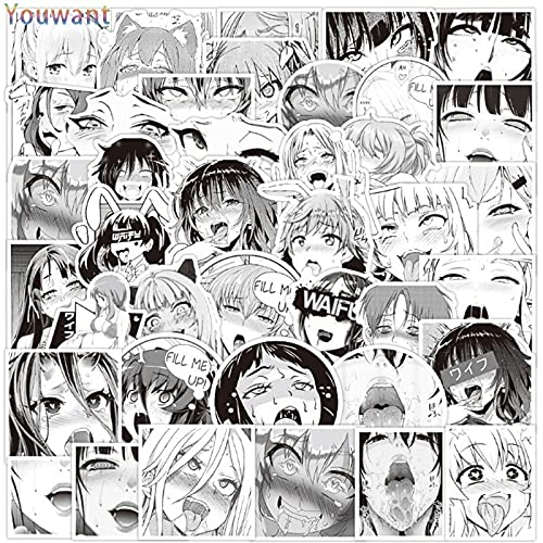 PMSMT 52 unids Blanco y Negro Hentai Waifu Girls Sexy Stickers Cartoon Anime Character Avatar Sticker para Skateboard Phone Moto