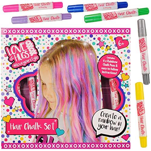 alles-meine.de GmbH 6 TLG. Set - Haarkreide - auswaschbar - Stifte - Dunkles & helles Haar - Bunte Farben - Bastelset zum Malen - für Kinder & Erwachsene / Malset - anmalen & aus..