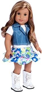 DreamWorld Collections - Feeling Happy - 4 Piece Outfit - Skirt, White T-Shirt, Blue Jeans Vest and White Cowgirl Boots - Clothes Fits 18 Inch American Girl Doll (Doll Not Included)