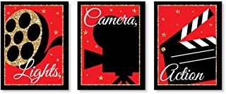 Big Dot of Happiness Red Carpet Hollywood - Movie Wall Art and Home Theater Room Decorations Ideas - 7.5 x 10 inches - Set of 3 Prints