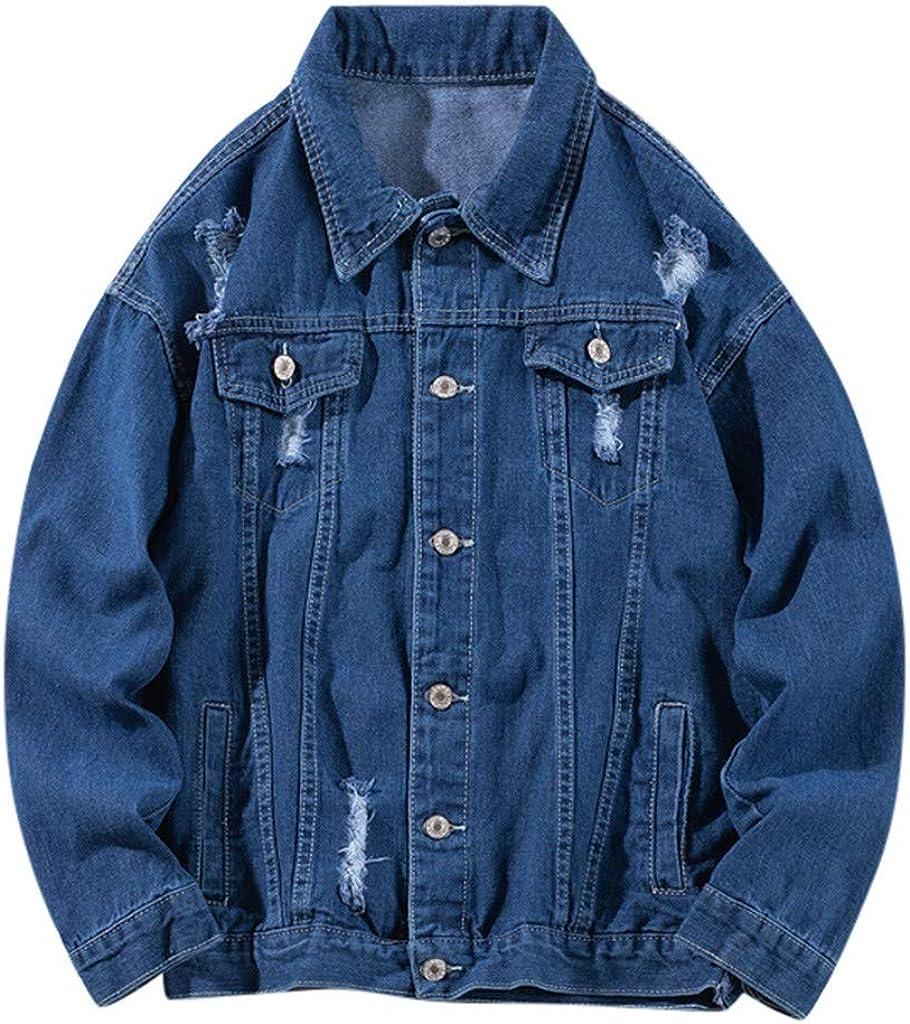 eipogp Men's Button Down Denim Jacket with Hole Relax Fit Trucker Jean Coat Hip Hop Vintage Outwear Blouse Tops