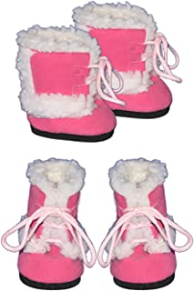 """Pink Furry Boots Clothes fits Most 12"""" Snuggl'ems, 8"""" - 10"""" Stuffed Animal Kits & Most Webkinz & Shining Star Animals"""