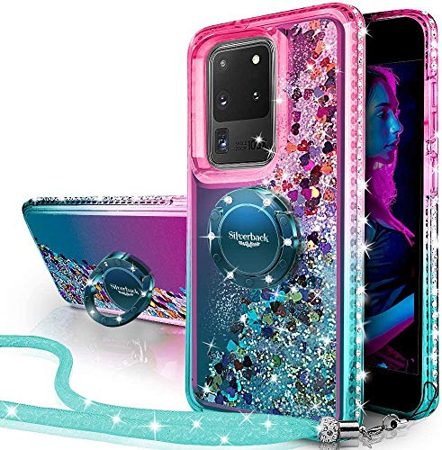 Silverback Galaxy S20 Ultra 5G Case,Galaxy S20 Ultra Case, Moving Liquid Holographic Sparkle Glitter Case with Kickstand, Girls Women Bling Ring Stand Slim Case for Samsung Galaxy S20 Ultra 5G -Green