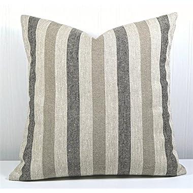Pillow Cover 18x18 Farmhouse Linen Natural, Black and Tan Stripes