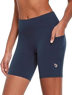 "BALEAF EVO Women's 7"" High Waist Biker Shorts Compression Buttery Soft Workout Running Shorts with Pockets Volleyball"