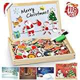 lenbest 118 Pcs Puzzles en Bois Magnétique, Thème de Noël Jigsaw Double Face Tableau Noir de Chevalet avec 1 Puzzle de Noël et 3 Papiers de Fond, Jouets Educatif pour Enfants Âge 3+