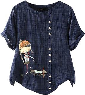 TIFIY Donna Camicetta Maniche Corte Maglietta Estivi T-Shirt Cotone e Biancheria Maglie Donna Taglie Forti Top Abbigliamen...