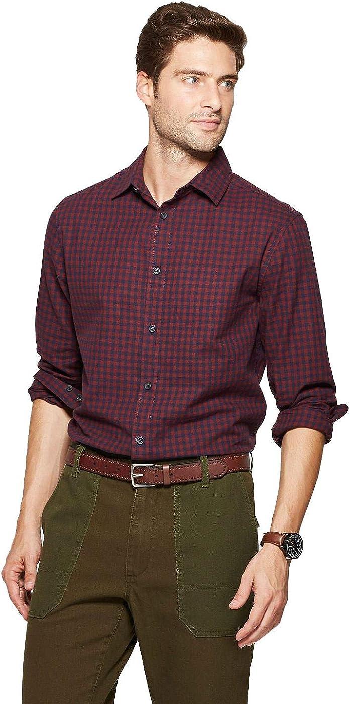 Goodfellow & Co Men's Dressy Long Sleeve Casual Button-Down Shirt (Berry)