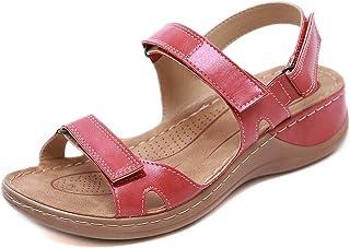 gracosy dampromenadsandaler läder platta sommarsandaler damer sport vandring öppen tå platta skor justerbar sandal utomhus...
