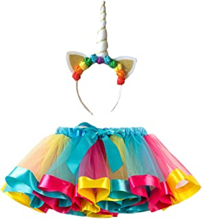 LUOEM Little Girls Layered Rainbow Tutu Skirts with Unicorn Horn Headband for Carnival Party Dancing Performance Christmas Unicorn Headwear Half-Length Rainbow Skirt Set - Size L (Sky Blue)