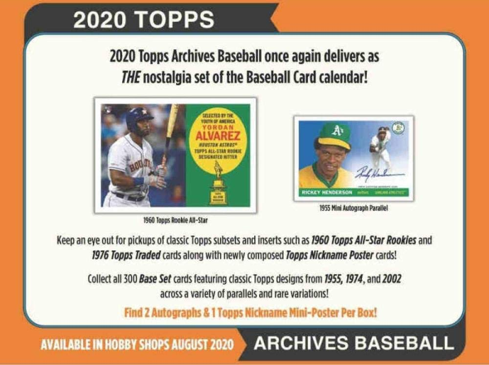 2020 Topps Max 63% OFF Archives Year-end gift Baseball Hobby Box 2 8 Packs Auto 24 Cards: