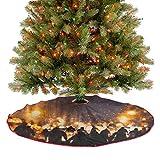 Homesonne Falda grande para árbol de Navidad con diseño de silueta humana en calle, decoración de fi...