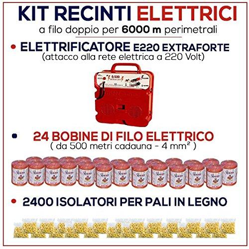 Kit für Weidezaun 6000 Meter - Weidezaungerät E/220 + Weidezaun Litze + Isolatoren für Holzpfähle / eisenpfähle GEMI
