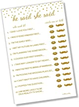 He Said She Said Bridal Shower Game - Gold Confetti (50-Sheets) (Large Sheet Size)