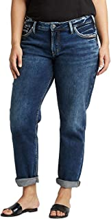 Silver Jeans Co. Women's Plus Size Mid-Rise Boyfriend Jeans
