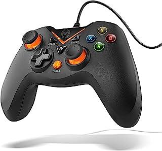 KROM KEY - Gamepad alámbrico, modos de juego X-input y Direct - input, joystick y gatillos analogicos, funcion turbo de di...