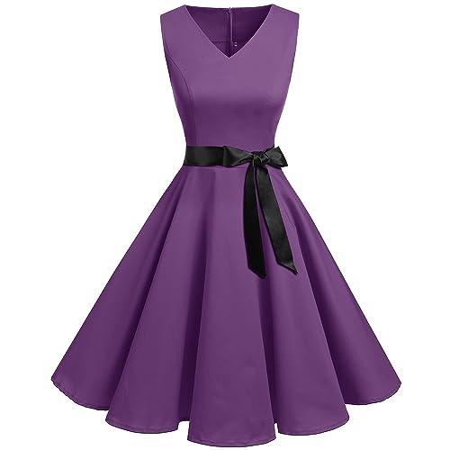 da5e619bc Bridesmay Women's V-Neck Audrey Hepburn 50s Vintage Elegant Floral Rockabilly  Swing Cocktail Party Dress
