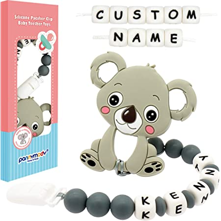Grey Pacifier Clip Personalized Name Cute Koala Customizable Pacifier Leashes for Baby Boys