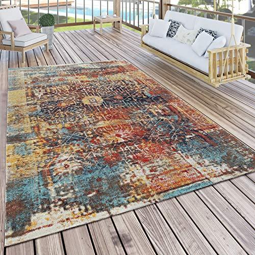 Paco Home In- & Outdoor Teppich Modern Nomaden Design Terrassen Teppich Bunt, Grösse:80x150 cm