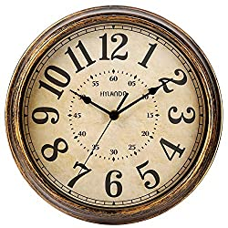HYLANDA Retro Wall Clock - 12 Inch Round Classic Clock Vintage Design - Silent Battery Operated Non Ticking Decorative for Kitchen/Home/School/Office/Classroom(Gold Bronze)