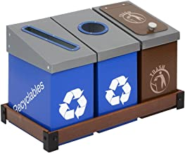DeskMate 3 Bin Recycling and Waste Station - Blue