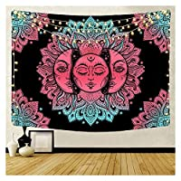 インドマンダラタペストリーの壁掛けサンムーンタロットウォールタペストリーウォールカーペットサイケデリックチオピズ魔術壁布タペストリー (色 : A1, サイズ : 95x73cm)