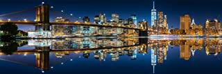 Mirrored New York City Skyline at Night Panoramic Photo Photograph Cool Wall Decor Art Print Poster 36x12