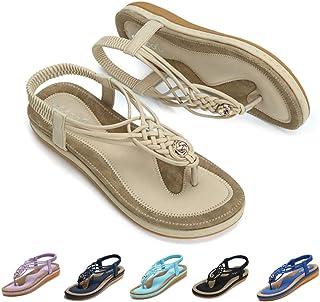 f59d7232e gracosy Sandalias Planas Verano Mujer Estilo Bohemia Zapatos de Dedo  Sandalias Talla Grande Cinta Elástica Casuales