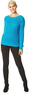 Roman Originals - Jersey de punto acanalado con detalle de lentejuelas para mujer, otoño invierno, cuello redondo, manga l...