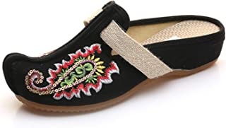 Redluck Women's Canvas Floral Embroidery Thai Style Comfortable Casual Mules House Slippers Shoes