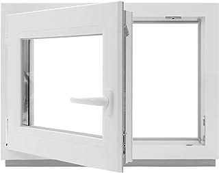 Fenster innen wei/ß//au/ßen Dark Oak DIN Rechts BxH: 50 x 50 cm Dreh- /& Kippfunktion Kellerfenster 500 x 500 mm 2 fach Verglasung 60 mm Profil