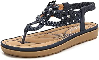 Meeshine Women's Flat Sandals T-Strap Summer Beach Bohemian Rhinestone Flip Flops Thong Shoes