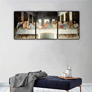 Canessioa The Last Supper Wall Art Framed 16x20inchx3pcs Modern Leonardo da Vinci Famous Oil Painting Reproduction Still L...