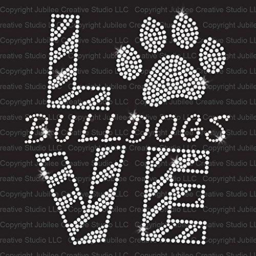 Love Bulldogs Clear Iron On Rhinestone Crystal T-Shirt Transfer by JCS Rhinestones