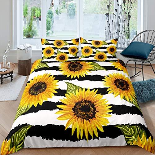 Loussiesd - Juego de cama con estampado de flores y flores amarillas, diseño de flores, color negro, blanco y negro