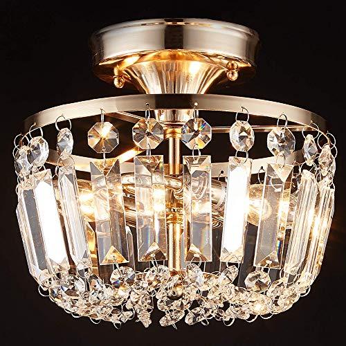 MonDaufie Crystal Ceiling Light Semi Flush Mount Ceiling Light,Crystal Chandelier for Hallway,Living Room Bedroom Room Loft,D9.2''x H8.7'',Matte Black