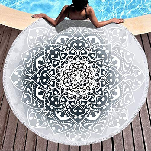 O2ECH-8 wintervibes mandala microvezel grote ronde badhanddoek mat - European Super waterabsorberende strandhanddoeken 59