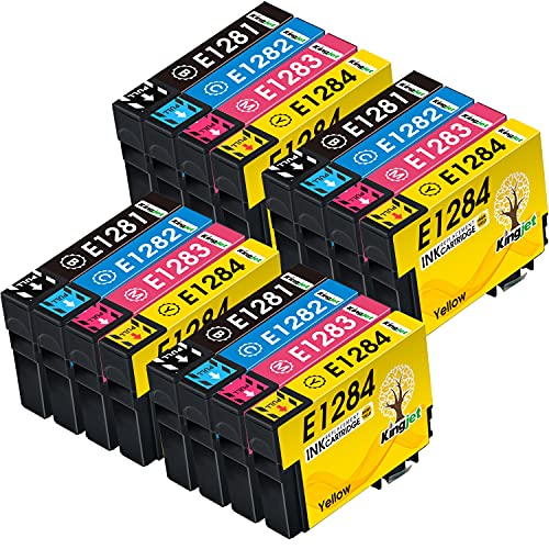 Kingjet 128XL Cartouches d'encre compatibles avec Epson T1281 T1282 T1283 T1284 pour Epson Stylus SX235W SX230 SX125 S22 SX130 SX420W SX425W SX430W BX305FW BX305F SX440W SX40W SX40W 45 W (16 Pack)