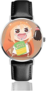 GASDFEFSD Unisex Mans Womans School Classic Himouto! Umaru-Chan Anime Watches Quartz Leather Watch with Black Leather Band Gift