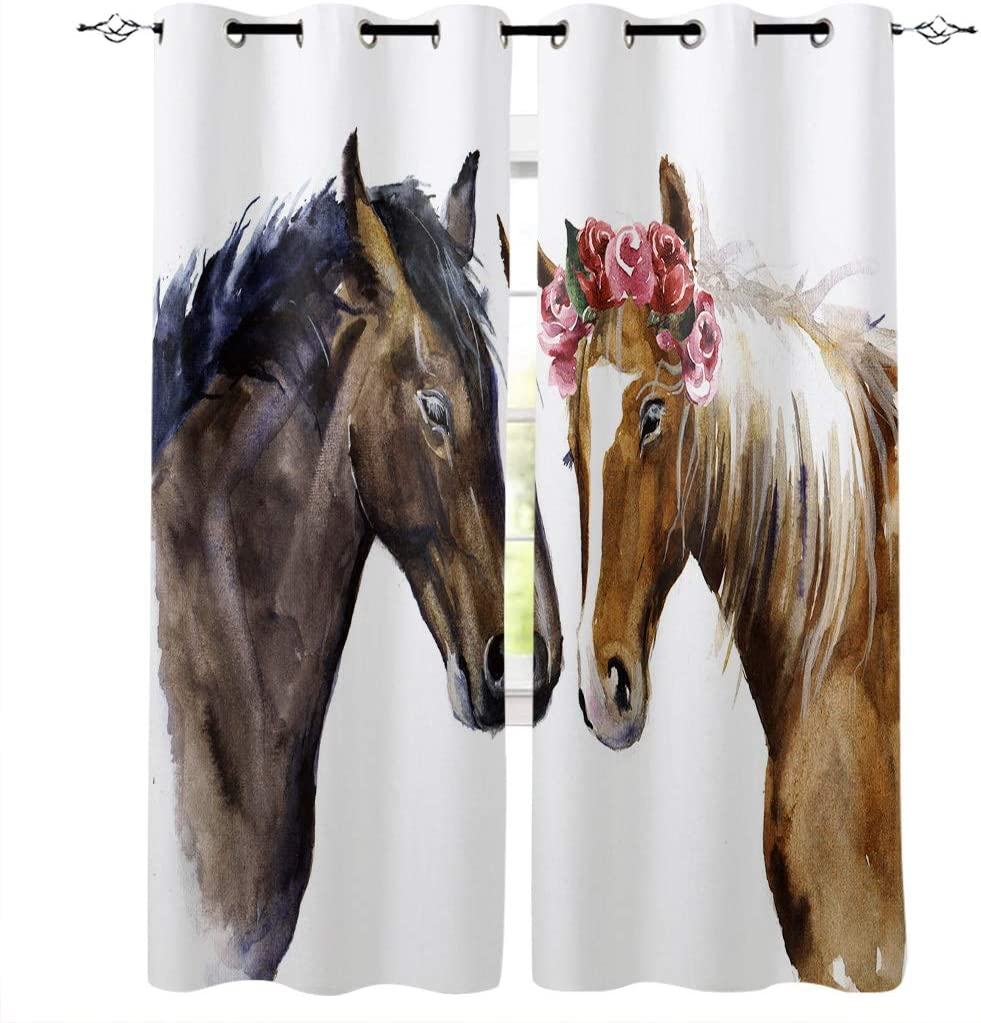 Blackout Curtains Drapes Genuine for Max 60% OFF Kids Bedroom Couple Watercolo Horse