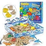 Magicfun Arena Mágica, 500g Arena cinética, Play Sand Set Moldura moldes de Vida Marina Arena de DIY moldeable Juguete para Niños , Figuras de mar y Bandeja 3