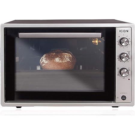 ICQN 70XXL Mini-Four   1800 W   Four a poser avec chaleur tournante , 5 fonctions   Four à pizza   Double vitrage   Minuterie Mécanique   Cavité en émaillée