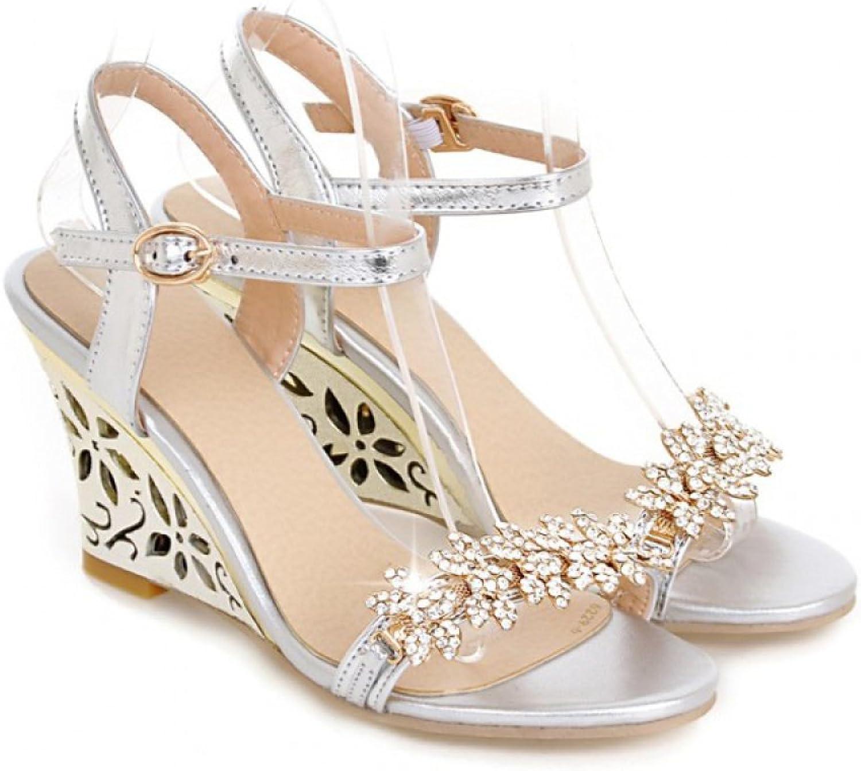 YXLONG Rhinestone Slope Sandals Female New High Heels Rhinestone Buckle Buckle Open Toe shoes