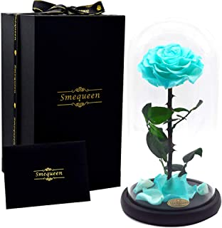 Smequeen for Women Hand Made Preserved Rose 4''Never Withered Roses Flower in 12.5'' Glass Dome, Gift for Valentine's Day Anniversary Birthday (Tiffany)