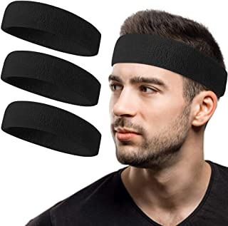 Tanluhu Sweatband Headband/Wristband Perfect for Basketball, Running, Football, Tennis Terry Cloth Athletic Sweatbands Fit...
