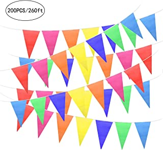Unomor 260Feet Multicolor Pennant Banner Bunting Flags for Party Decorations, Birthday, Festivals Decorations
